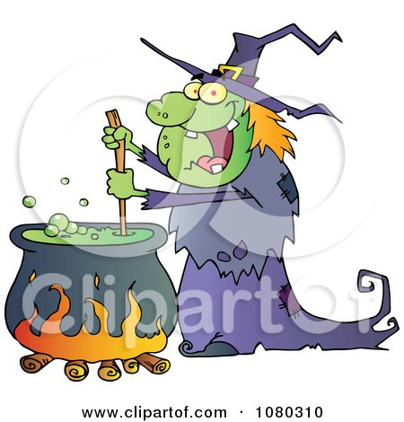 Clipart Warty Halloween Witch Stirring A Potion In A Cauldron - Royalty Free Vector Illustration by Hit Toon