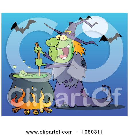 Clipart Warty Halloween Witch Stirring A Potion Under Bats On Blue - Royalty Free Vector Illustration by Hit Toon
