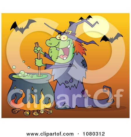 Clipart Warty Halloween Witch Stirring A Potion Under Bats On Orange - Royalty Free Vector Illustration by Hit Toon