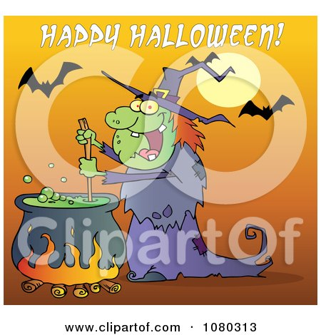Clipart Happy Halloween Over A Witch Stirring A Potion Under Bats On Orange - Royalty Free Vector Illustration by Hit Toon