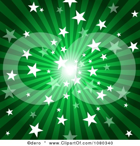 Clipart Green Starry Burst And Rays Background - Royalty Free Vector Illustration by dero