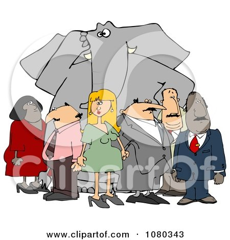 Clipart Group Of People Ignoring The Elephant In The Room 2 - Royalty Free Illustration by djart