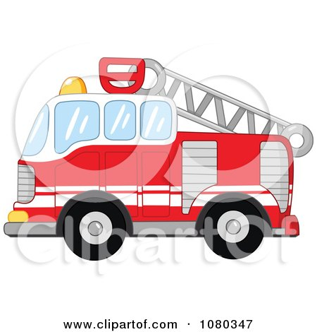 Clipart Red Fire Department Truck Engine - Royalty Free Vector Illustration by yayayoyo