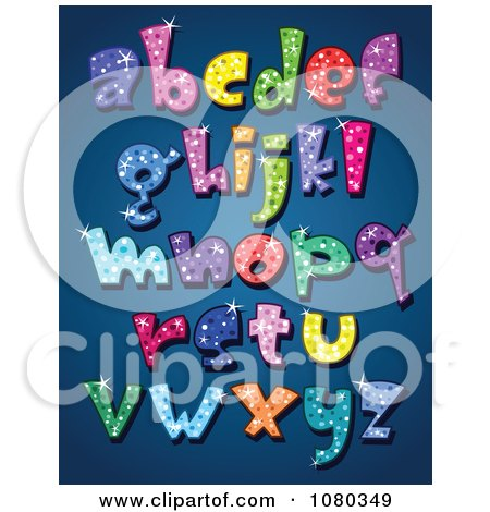 Clipart Colorful Sparkling Lowercase Alphabet Letters - Royalty Free Vector Illustration by yayayoyo