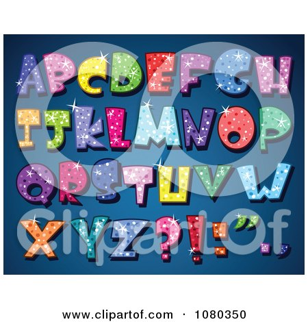 Clipart Colorful Sparkling Capital Alphabet Letters - Royalty Free Vector Illustration by yayayoyo