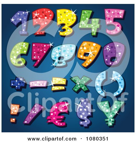 Clipart Colorful Sparkling Numbers - Royalty Free Vector Illustration by yayayoyo