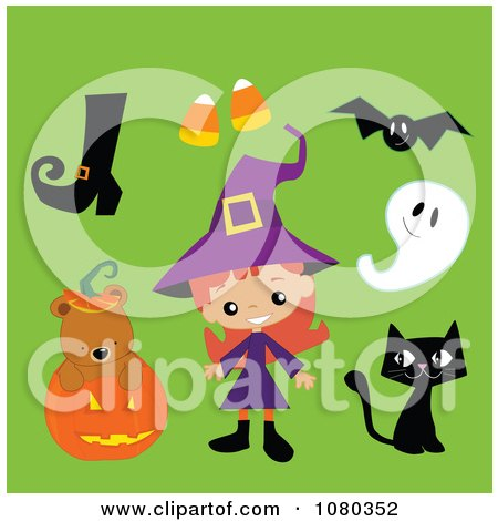 Clipart Cute Halloween Witch Boot Candy Corn Bat Ghost Black Cat And Bear In A Pumpkin - Royalty Free Vector Illustration by peachidesigns