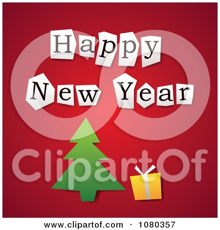 Clipart of a Happy New Year Lets Turn a New Page Book with a ...