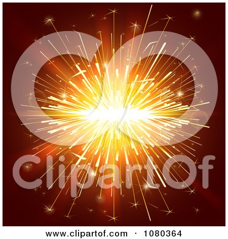 Clipart Orange Sparkler Lights On Brown - Royalty Free Vector Illustration by Eugene