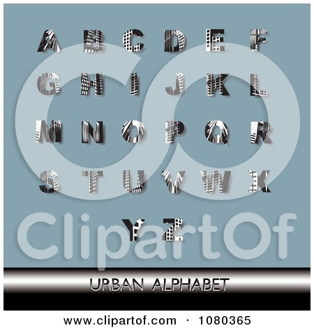 Clipart Black And White Urban Styled Alphabet Set On Blue - Royalty Free Vector Illustration by Eugene
