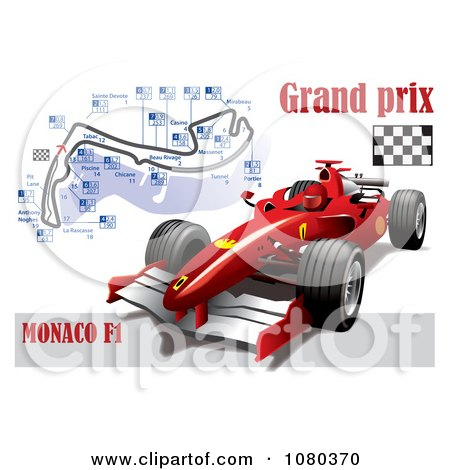 Clipart Formula One Race Car And Grand Prix Circuit - Royalty Free Vector Illustration by Eugene