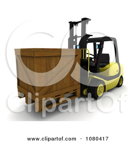 Clipart 3d Wooden Crate Loaded On A Forklift - Royalty Free CGI Illustration by KJ Pargeter