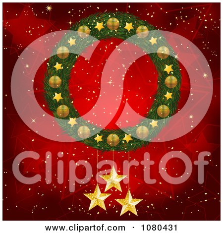 Clipart 3d Christmas Wreath With Gold Stars Over A Red Starry Background - Royalty Free Vector Illustration by elaineitalia