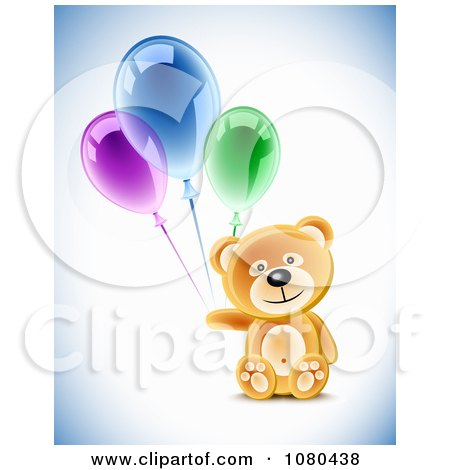 Clipart 3d Teddy Bear With Colorful Party Balloons - Royalty Free Vector Illustration by Oligo