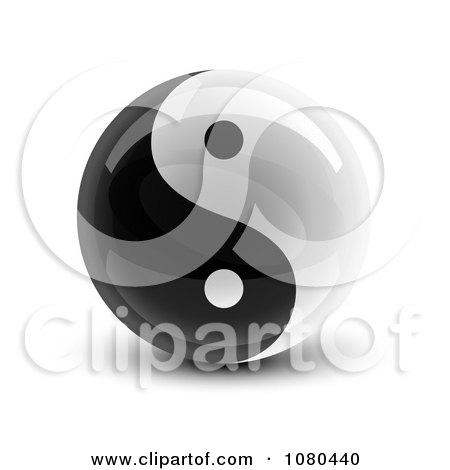 Clipart 3d Yin Yang Circle - Royalty Free Vector Illustration by Oligo