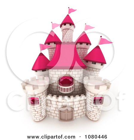 Clipart 3d White Brick Castle With Pink Flags And Turrets 2 - Royalty Free CGI Illustration by BNP Design Studio