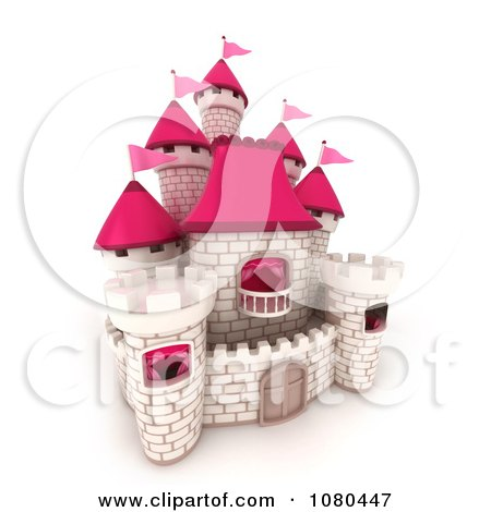 Clipart 3d White Brick Castle With Pink Flags And Turrets 1 - Royalty Free CGI Illustration by BNP Design Studio