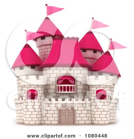Clipart 3d White Brick Castle With Pink Flags And Turrets 3 - Royalty Free CGI Illustration by BNP Design Studio