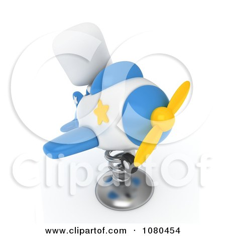 Clipart 3d Ivory Kid In A Springy Plane Ride - Royalty Free CGI Illustration by BNP Design Studio