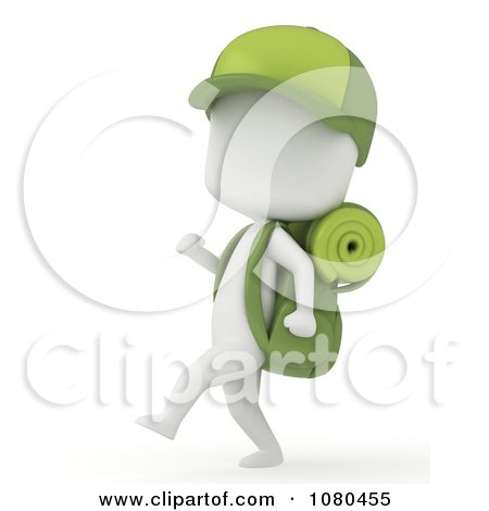 Clipart 3d Ivory Camper Boy Hiking With Gear - Royalty Free CGI Illustration by BNP Design Studio