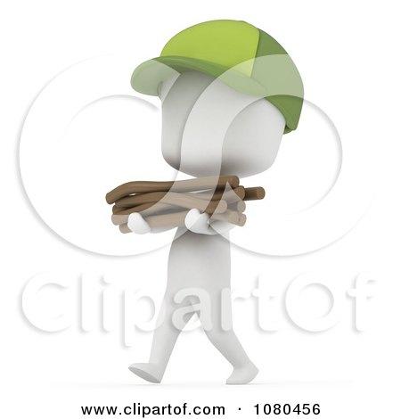 Clipart 3d Ivory Camper Boy Gathering Kindling - Royalty Free CGI Illustration by BNP Design Studio