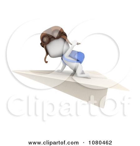 Clipart 3d Ivory Student Flying On A Paper Airplane - Royalty Free CGI Illustration by BNP Design Studio