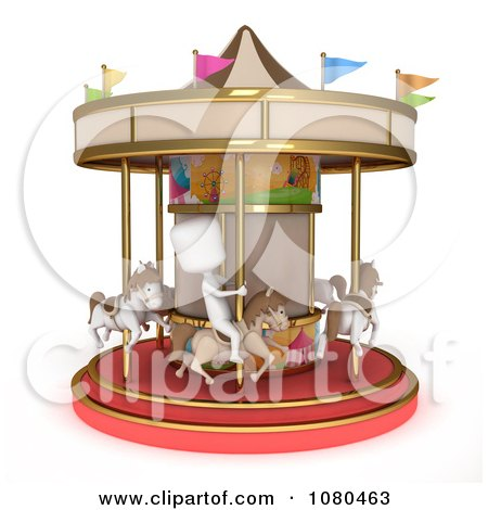 Clipart 3d Ivory Kid On A Horse Carousel - Royalty Free CGI Illustration by BNP Design Studio