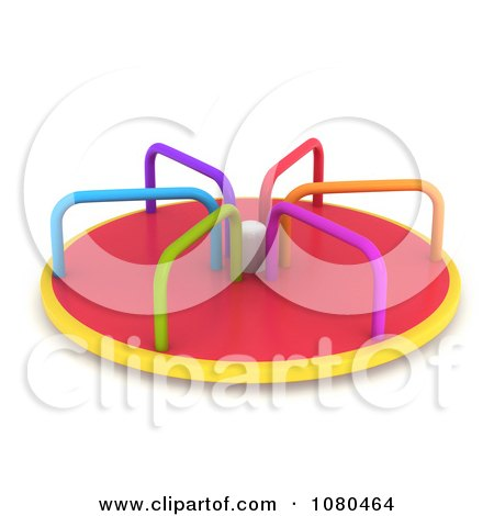 clipart 3d colorful playground merry go round ride royalty free cgi illustration by bnp design. Black Bedroom Furniture Sets. Home Design Ideas