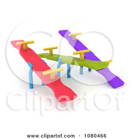 Clipart 3d Colorful See Saws On A Playground - Royalty Free CGI Illustration by BNP Design Studio