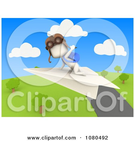 Clipart 3d Ivory Student Flying A Paper Airplane Over A Park - Royalty Free CGI Illustration by BNP Design Studio
