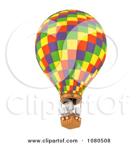 Clipart 3d Ivory Family In A Hot Air Balloon - Royalty Free CGI Illustration by BNP Design Studio