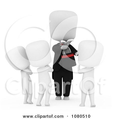 Clipart 3d Ivory Magician Showing A Trick To Kids - Royalty Free CGI Illustration by BNP Design Studio