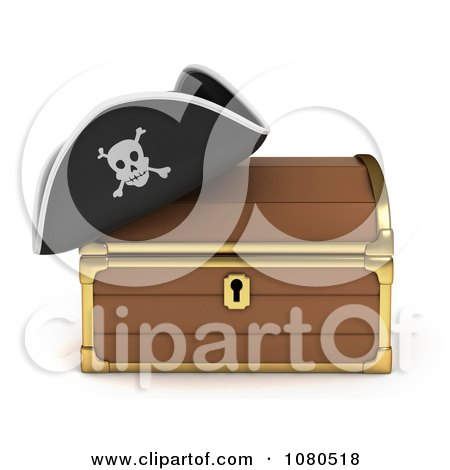 Clipart 3d Treasure Chest And Pirate Hat - Royalty Free CGI Illustration by BNP Design Studio