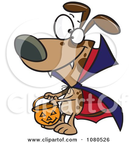 Clipart Halloween Vampire Dog Trick Or Treating - Royalty Free Vector Illustration by toonaday