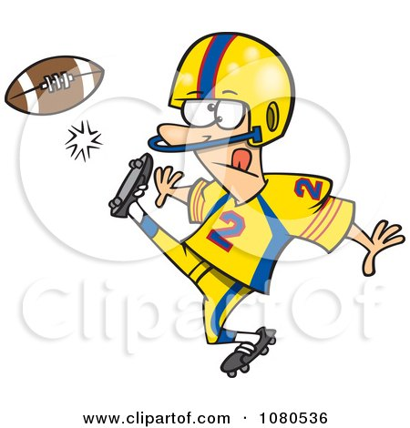 Clipart Football Player Kicking - Royalty Free Vector Illustration by toonaday