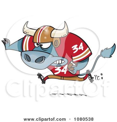 Clipart Football Bull Running - Royalty Free Vector Illustration by toonaday