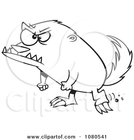 Clipart Outlined Angry Honey Badger - Royalty Free Vector Illustration by toonaday