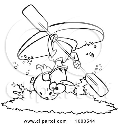Clipart Outlined Female Kayaker Doing A Flip Over White Water - Royalty Free Vector Illustration by toonaday
