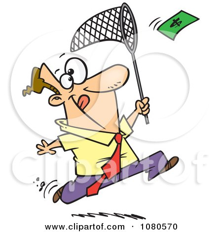 Clipart Businessman Chasing Money With A Net - Royalty Free Vector Illustration by toonaday