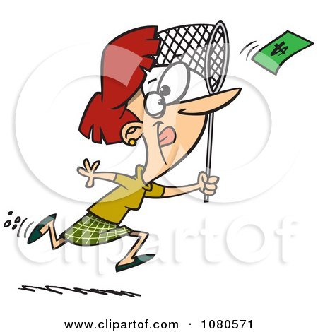 Clipart Businesswoman Chasing Money With A Net - Royalty Free Vector Illustration by toonaday