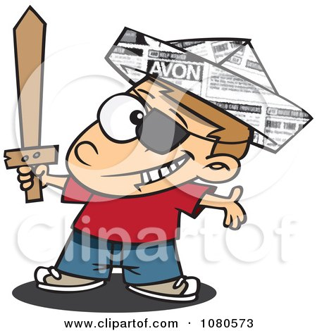 Clipart Pirate Boy With A Newspaper Hat And Sword - Royalty Free Vector Illustration by toonaday