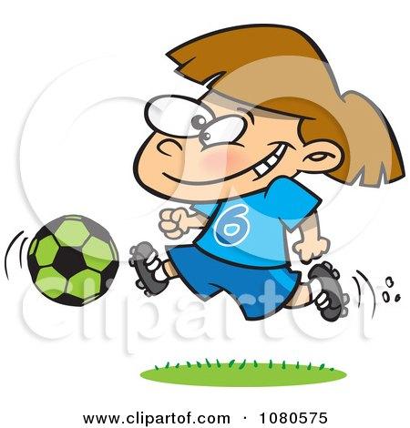 Clipart Soccer Girl Running - Royalty Free Vector Illustration by toonaday