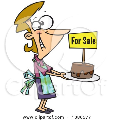 Clipart Pleased Bake Sale Woman Holding Out A Cake - Royalty Free Vector Illustration by toonaday