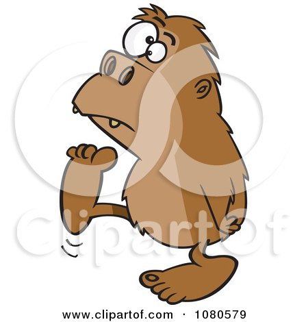 Clipart Bigfoot Walking To The Left - Royalty Free Vector Illustration by toonaday