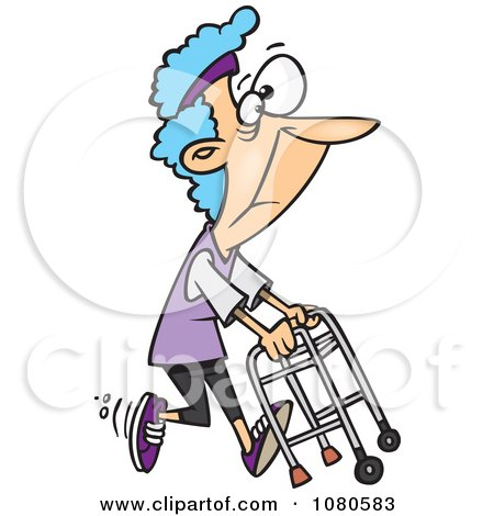 Clipart Healthy Granny Exercising With Her Walker - Royalty Free Vector Illustration by toonaday