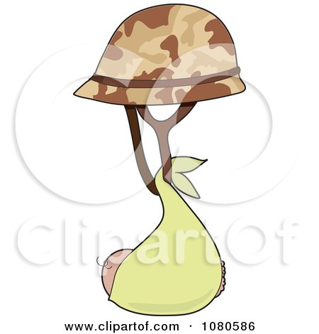 Clipart Baby In A Blanket Suspended From A Military Helmet - Royalty Free Vector Illustration by Maria Bell