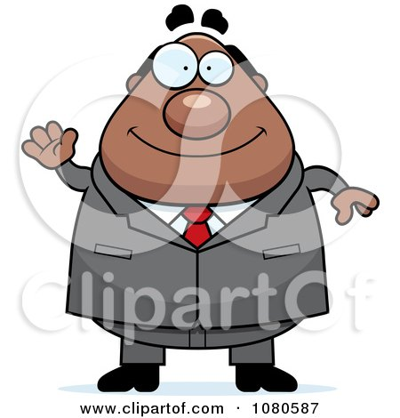 Clipart Chubby Black Businessman Boss Waving - Royalty Free Vector Illustration by Cory Thoman