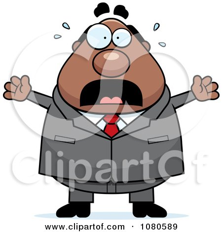 Clipart Chubby Black Businessman Boss Freaking Out - Royalty Free Vector Illustration by Cory Thoman