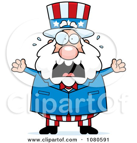 Clipart Chubby Uncle Sam Freaking Out - Royalty Free Vector Illustration by Cory Thoman