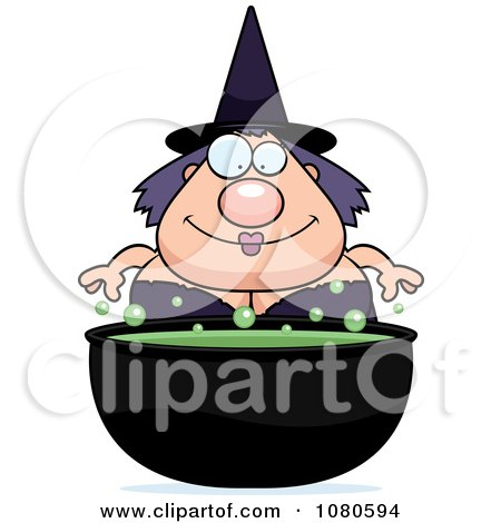 Clipart Chubby Witch Over A Cauldron - Royalty Free Vector Illustration by Cory Thoman